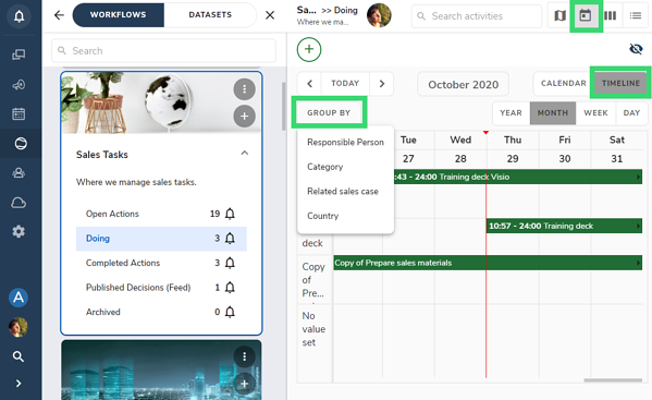 Timeline view group by